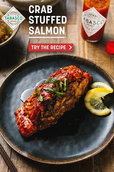 A glaze of TABASCO® Sauce, soy sauce and honey brings a tart + and tangy twist to this Cajun + Creole classic. Chef Tia Henry's Crab-Stuffed Salmon is the perfect way to invite Cajun + Creole culture into your home. Easy to make, easy to eat! Salmon Recipes, Pork Recipes, Fish Recipes, Seafood Recipes, Appetizer Recipes, Dinner Recipes, Cooking Recipes, Seafood Dinner, Fish And Seafood