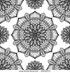 Filigree black and white pattern of mandalas. Vector oriental ornament. Template for textiles, carpets, shawls and any surface.