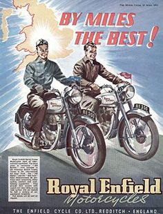 'Royal Enfield Motorcycles, 1951' - Fantastic A4 Glossy Print Taken From A Vintage Motorcyle Ad by Design Artist http://www.amazon.co.uk/dp/B019L67TIY/ref=cm_sw_r_pi_dp_N9IDwb1D9YPP9