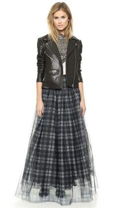 Haute Hippie Plaid Mesh Crinoline Maxi Skirt, This is one chic way to do plaid