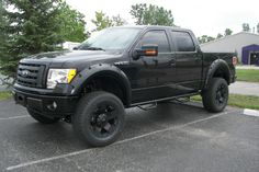 Black lifted Ford F-150. www.CustomTruckPartsInc.com is one of the largest Truck accessories retailer in Western Canada #CustomTruckParts #pickups #pickuptruck Custom Truck Parts