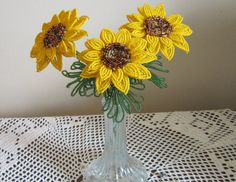 French Beaded Flowers Sunflowers