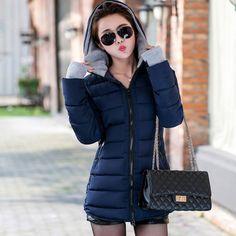 Winter Outfits: 2019 women winter hooded warm coat plus size candy color cotton padded jacket female long parka womens wadded jaqueta feminina Winter Jackets Women, Coats For Women, Denim Mini, Plus Size Winter, Long Parka, Womens Parka, Cotton Pads, Padded Jacket, Warm Coat