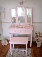 Sweet Petite Empire Pink Vanity with Tri-fold Mirror and Bench