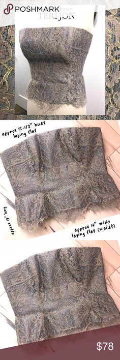 TERI JON (& rickie freeman) Nymph lace bustier TERI JON (& rickie freeman) Nymph lace bustier, with slightly frayed edges and metallic accented lace this one is a must have!  So beautiful, excellent condition.  Please see pics for details.  cr1/80 Rickie Freeman for Teri Jon Tops