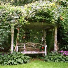 Cottage garden swing with porch posts!