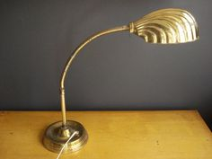 Brass Goose Lamp - Vintage Brass Goose-necked Metal Lamp - Desk Lamp