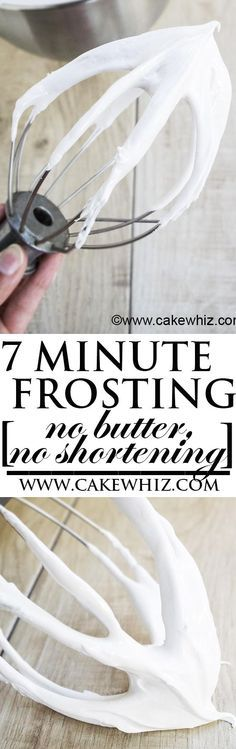 This easy and old fashioned SEVEN MINUTE FROSTING recipe yields a really white, soft and fluffy icing that tastes like marshmallows. Made with no butter and no shortening! Great for icing cakes and cupcakes! From http://cakewhiz.com