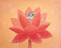 "Sheila Keegan Art ""Kitten's Lotus Hideaway"" Kitten hides in the Red Sacred Lotus…"
