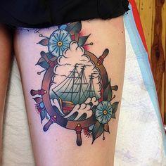 ship helm flowers