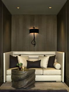 This comfy little seating nook is also very glamorous. Champalimaud Spa Interiors /   Hotel Bel-Air Spa