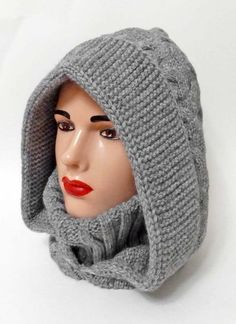 Crochet Hood, Crochet Beanie Pattern, Knit Crochet, Knitting Patterns, Crochet Patterns, Hat And Scarf Sets, Crochet Winter, Diy Scarf, Knit Cowl