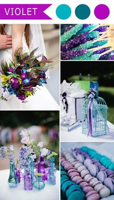 violet and teal blue peacock themed wedding color ideas: