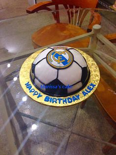 Real Madrid birthday cake.visit us Facebook.com/marissa'scake or Marissa'scake.com