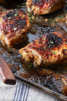 Chicken thighs have a huge advantage over lean breasts The skin browns nicely and the meat stays juicy even when thoroughly cooked, which makes them ideal for grilling or broiling The dark, rich meat also responds brilliantly to the strong equatorial flavors often associated with grilling