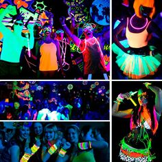 Hora loca o baile sorpresa Neon Birthday, 13th Birthday Parties, 14th Birthday, Glow In Dark Party, Glow Stick Party, Party Deco, Neon Licht, Blacklight Party, Festa Party