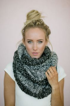 Infinity Scarf, Knitted, Ombre Black Gray and White Loop Women's Chunky Scarf, $58.00