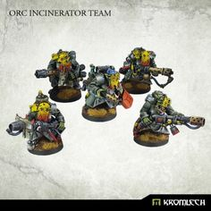 This set contains five fearless Orc Incinerator Team armed in flamers.  Inside a pack you will find 5 orc armoured greatcoat bodies designed for this team with a set of bits dedicated for each body. There is also a set of 5 heads which you can glue as you wish among those bodies.