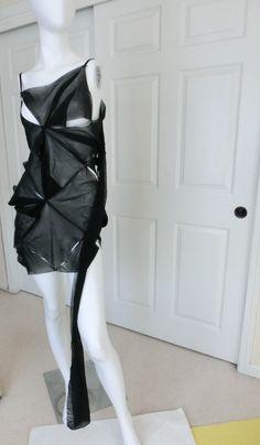 $1K Ann Demeulemeester deconstruction DISTRESSED NET METAL DRESS AVANT GARDE 38 #AnnDemeulemeester #avantgardedress #LittleBlackDress