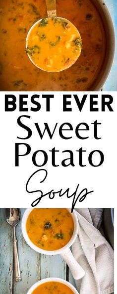 This is the BEST EVER Sweet Potato Soup. It's filled with delicious flavor and makes the perfect lunch, side dish, or appetizer. It's light, healthy, and easy to make! Vegan and gluten-free!