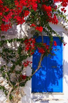 Red, white and blue in Amorgos Island,Greece