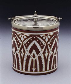 Biscuit Box with Cover ca. 1870, Manufactured by James Macintyre and Co., England (Earthenware, silverplate)