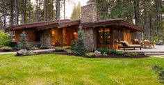 Since Wright Design Studio has been recognized by clients and within the Central Oregon home building industry for its sustainable design style. Mountain House Decor, Modern Mountain Home, Mountain House Plans, Lake House Plans, Modern House Plans, Future House, Custom Home Designs, Forest House, House Entrance