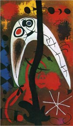 Joan Miro ~ Woman and Bird in the Night.  Art Experience NYC  www.artexperiencenyc.com/social_login/?utm_source=pinterest_medium=pins_content=pinterest_pins_campaign=pinterest_initial
