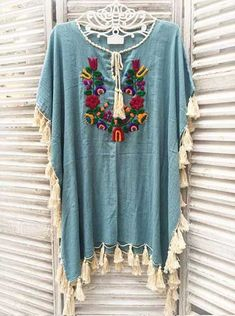 Salmon Colored Hand Embroidered Woman's Festival Long Kaftan/ Poncho/ Maxi Dress with Fringe. Mode Hippie, Bohemian Mode, Hippie Chic, Bohemian Style, Boho Chic, Boho Outfits, Cute Outfits, Diy Clothes, Clothes For Women
