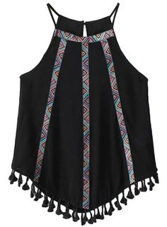 National Wind Embroidery Print Asymmetric Tasseled Top
