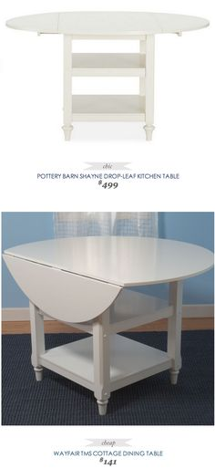 Pottery Barn Shayne Drop leaf Kitchen Table $499 - vs - Wayfair Cottage Dining Table $199. I used to have a table like this. Would love to get another one!