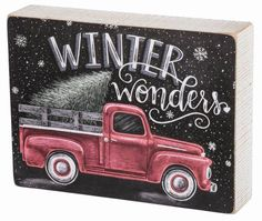 "Primitives By Kathy Chalk Box Sign - ""Winter Wonders"" #PrimitivesByKathy #RusticPrimitive"