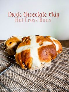 Dark Chocolate Chip Hot Cross Buns  http://bakinginpyjamas.com/2016/03/08/dark-chocolate-chip-hot-cross-buns-breadbakers/