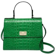 Pre-owned Green Alligator Kate Spade Shoulder Bag (€245) ❤ liked on Polyvore