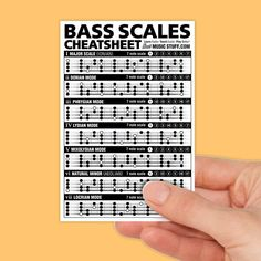 Bass Scales Cheatsheet Pocket Reference (Laminated & Double Sided) // Gift for Beginner Guitarists up to Advanced Guitar Players Bass Guitar Scales, Bass Guitar Chords, Bass Guitar Lessons, Guitar Tips, Banjo, Acoustic Guitar, Bass Guitars, Fender Bass, Music Chords