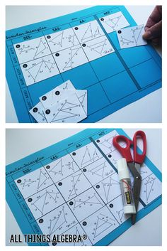 Proving Similar Triangles - Cut, Sort and Paste Geometry Lessons, Teaching Geometry, Geometry Activities, Geometry Games, Math Lessons, Teaching Math, Math Activities, Math Teacher, Teacher Stuff