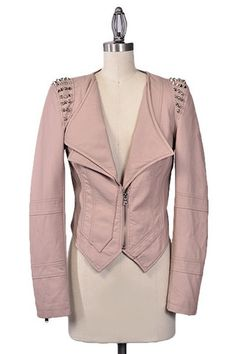 Night Rider Spiked Vegan Leather Jacket - Dusty Pink - $69.00