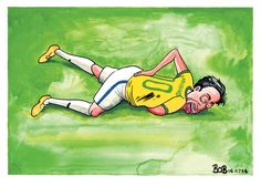 6 July 2014 - Neymar's difficult injury in the Brazil vs Colombia is referenced as Ed Miliband here. Ed Miliband, Labour Party, July 6th, Bart Simpson, Brazil, Cartoons, Fictional Characters, Colombia, Cartoon