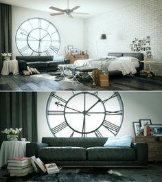 Clock tower bedroom strange bed window couch