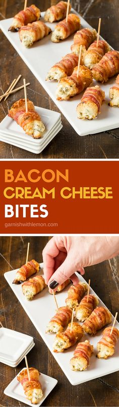 Filled with cream cheese and chives, these Crispy Bacon Cream Cheese Bites are showstoppers at any party! ~ http://www.garnishwithlemon.com