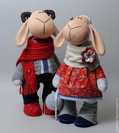 Купить Овечки - ярко-красный, овечка, овечка игрушка, овечка в подарок, овечка текстильная