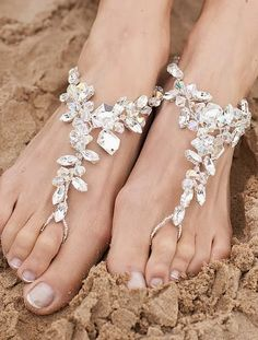 The lovely foot jewelry from Bridal Look #4. Because you don't want to worry about tripping in the sand at a beach wedding!