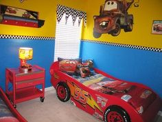 Disney cars room decor!! Krimson's room is cars, def taking this paint idea only using diff colors