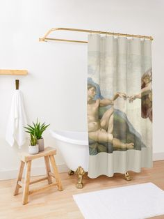 """Michelangelo The Creation of Adam"" Shower Curtain by scardesign11 