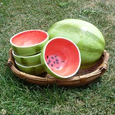 Watermelon Bowls Serving Set by vegetabowls on Etsy Watermelon Bowl, Kitchen Themes, Pink Elephant, New Home Gifts, Summer Treats, Cereal Bowls, Party Accessories, Ceramic Bowls, Serving Dishes