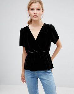 Бархатная блузка с запахом ASOS