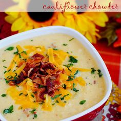 Bacon-Cheddar Cauliflower Chowder (Low-Carb Recipe) Recipe Soups with bacon, onion, celery ribs, garlic cloves, salt, cauliflower, water, flour, chicken broth, 2% reduced-fat milk, hot sauce, shredded sharp cheddar cheese, green onions