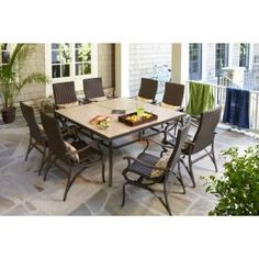 The 9-Piece set includes eight elegant dining chairs and a handsome 64 in. square table, so that everyone seated has enough table space and elbow room.