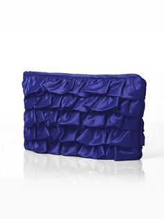 Peau De Soie Ruffle Clutch - Cerise | The Dessy Group