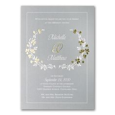Timeless Garden - Double Thick Invitation. Available at Persnickety Invitation Studio.